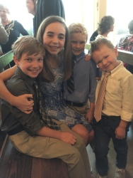Grace and her cousins at family wedding..