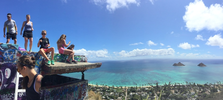 "The Lanikai Pillbox overlooks the Lanikai Beach and the ""Moks"""